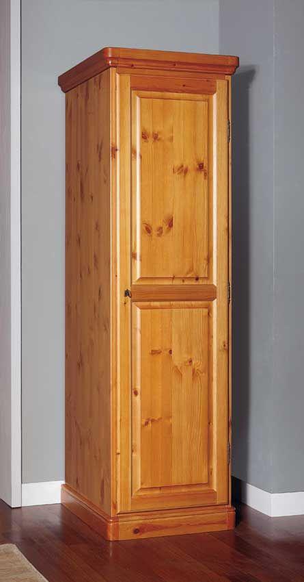 Armadio rustico un anta in legno di pino massello di