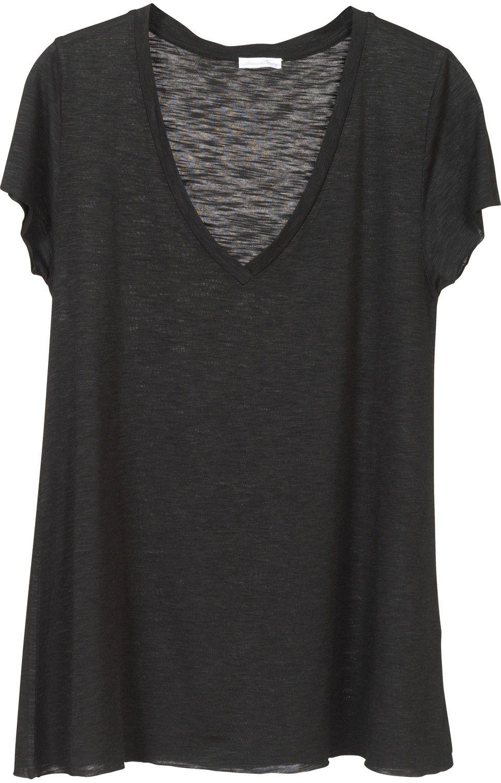 Plain black t shirt style - Oversized Black Heather Sheer Deep V Neck Tee Shirt
