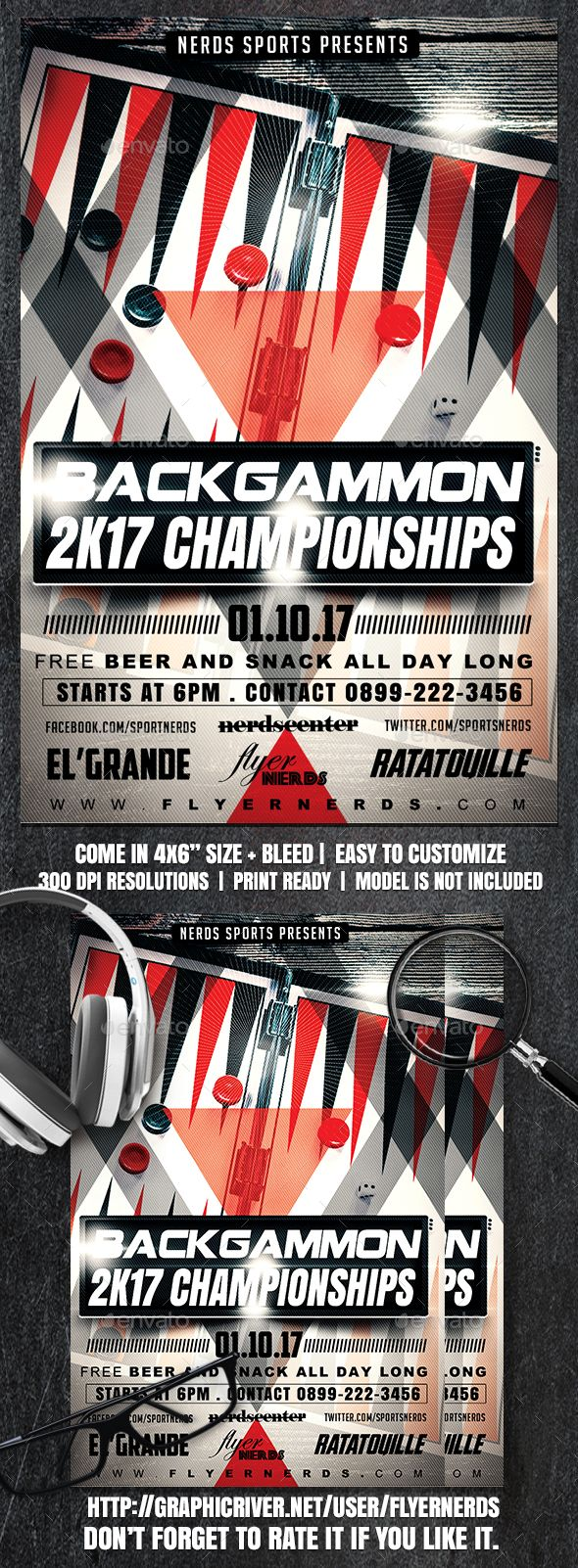 Backgammon 2K17 Championships Sports Flyer by flyernerds
