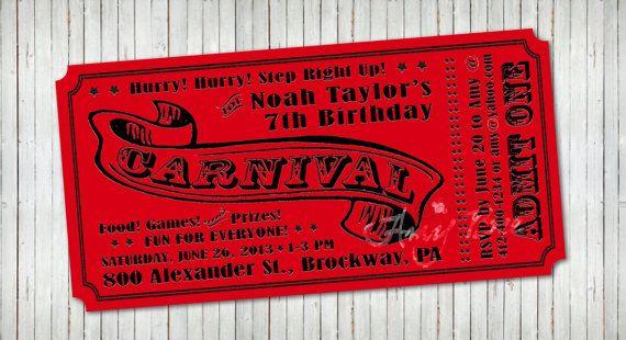 Carnival Ticket Invitation - Printable Carnival tickets, Ticket - ticket invitation template