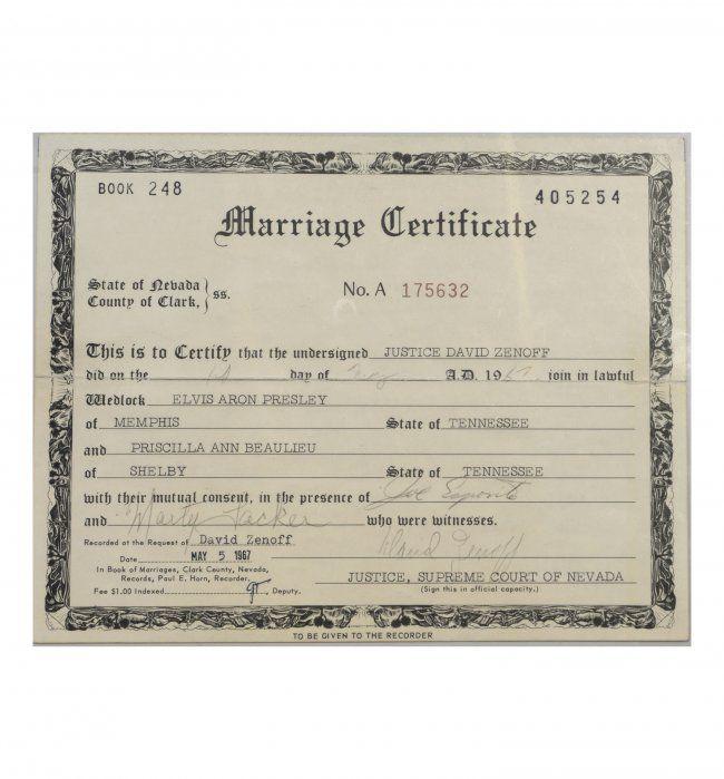 Elvis And Priscilla Presley S Marriage Certificate This Is The Original Las Vegas Nevada Signed By Justice David Zenoff Best Men