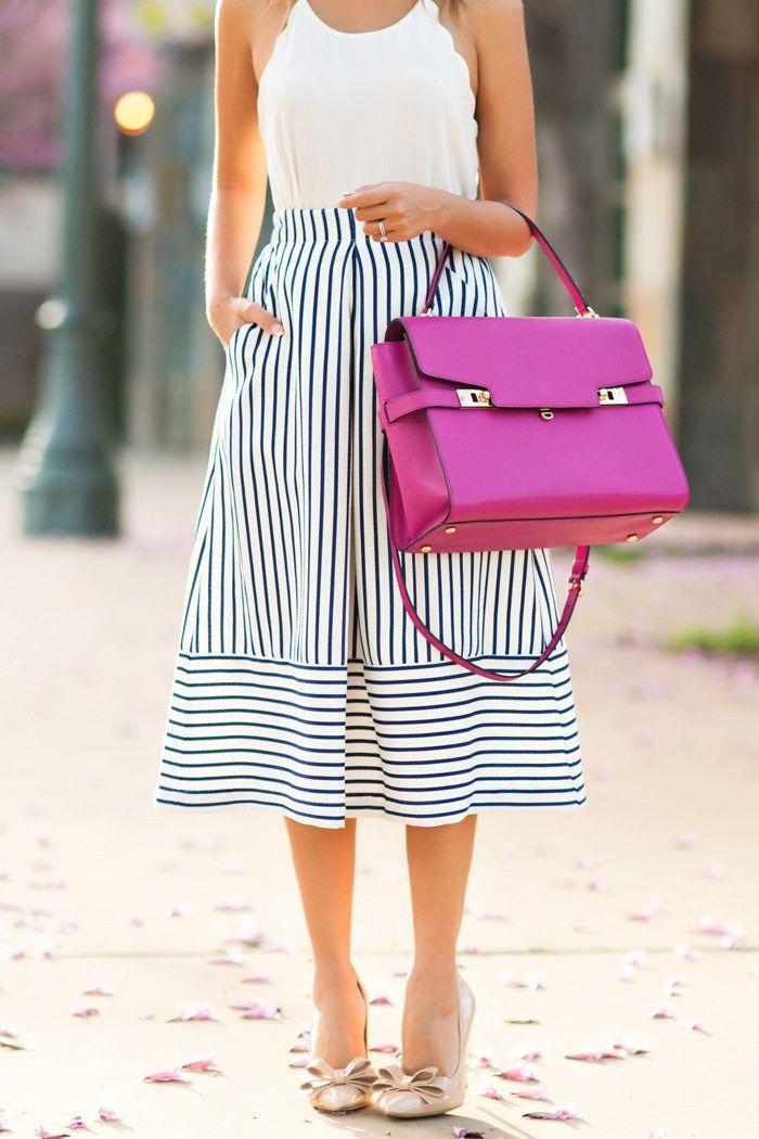 Pee Fashion Blog Lace And Locks Los Angeles Blogger Navy Stripe Midi Skirt Henri Bendel Handbag Bow Heels Cute Spring Outfit