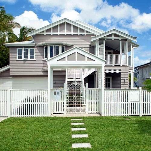 Creamy fawn grey old dame dono facelift pinterest for Queenslander exterior colour schemes