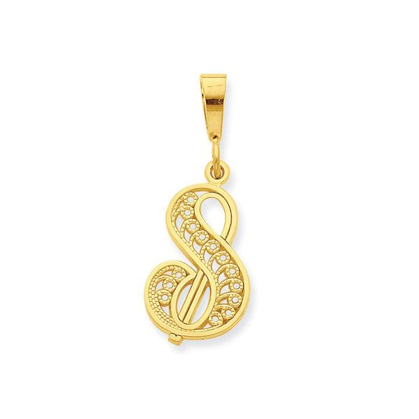 A-Z Any Alphabet Necklace Charm 10K Solid Yellow Gold CZ Initial Letter Pendant