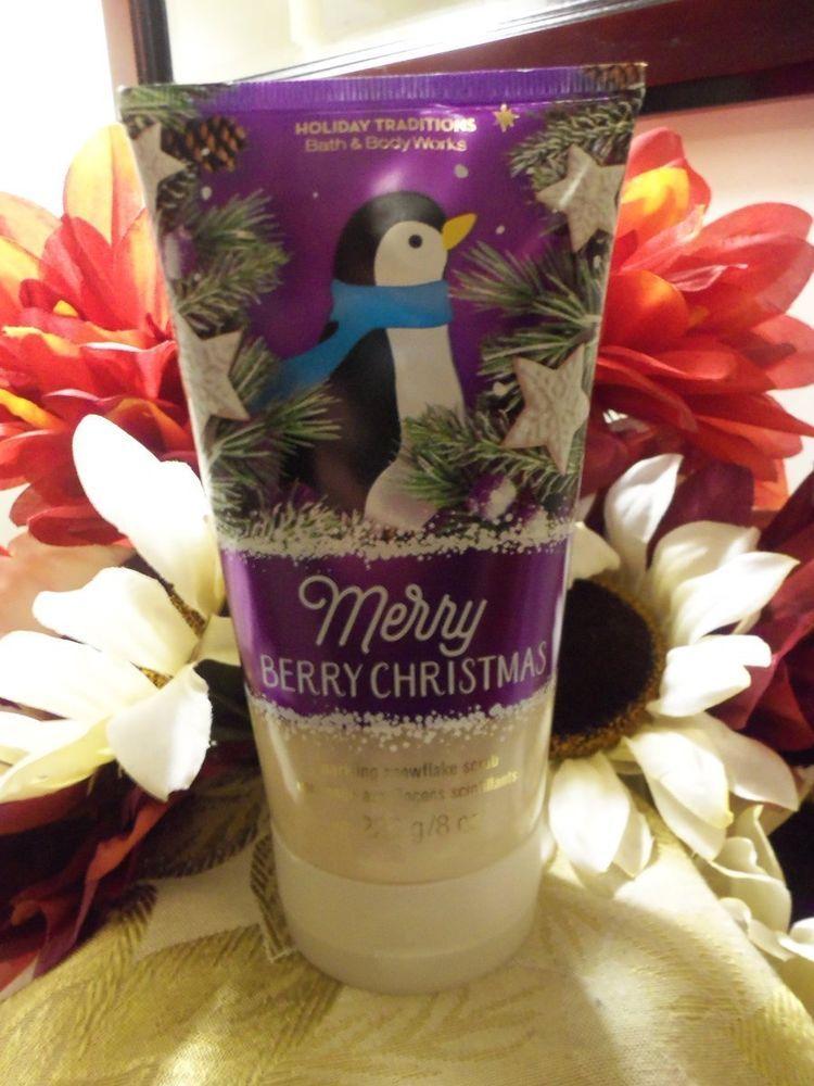 NWT Bath and Body Works MERRY BERRY CHRISTMAS Sparkling Snowflake SCRUB 8 oz. #BathBodyWorks