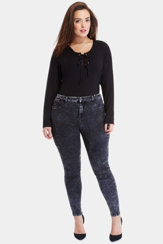 Plus Size Astrid Acid Wash Skinny Jeans | Fashion To Figure $44.90 | Click to shop - http://goo.gl/PiBgYs