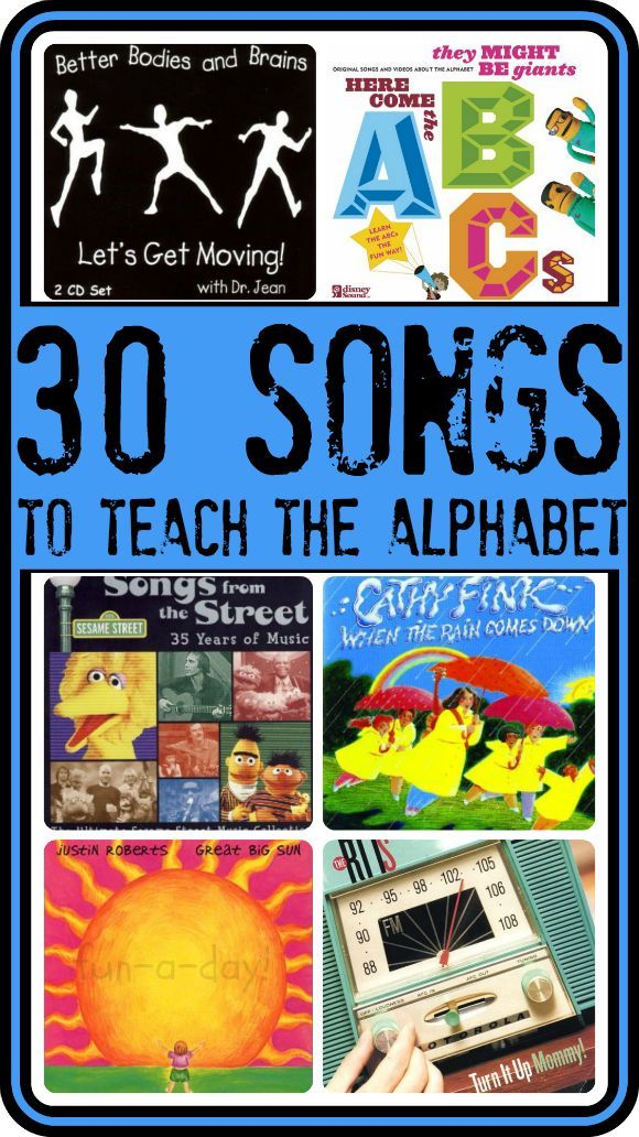 30 Fun Alphabet Songs for Children -- CDs and songs to use when teaching children letters in a FUN way!