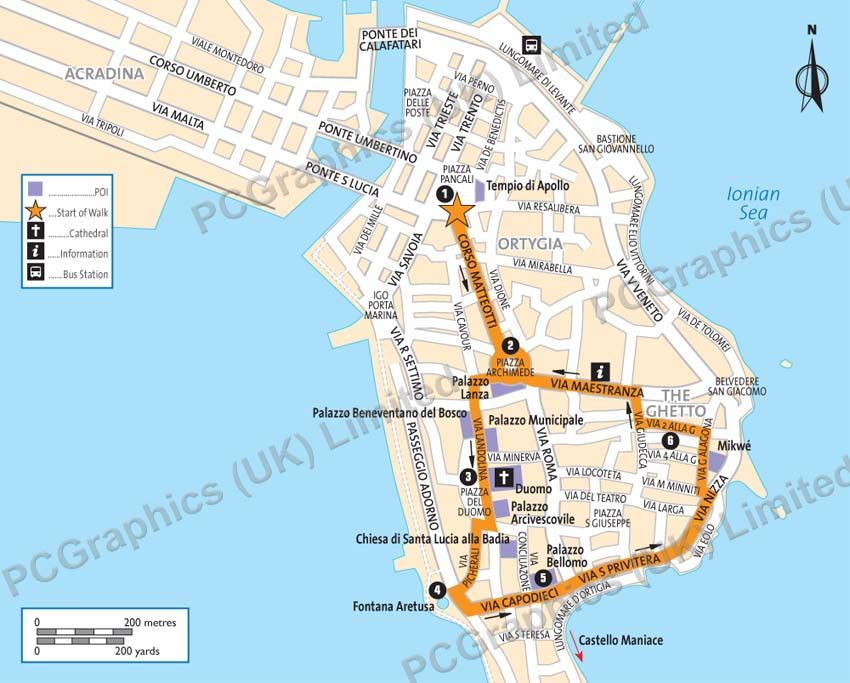 Map of Ortigia Island, Sicily, produced by PCGraphics. See ...