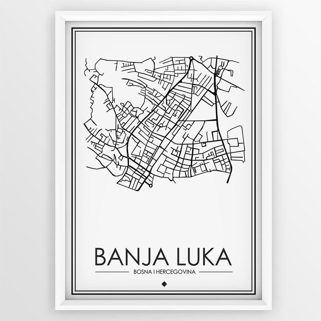 The Map Banja Luka Bijela Banja Luka Poster Design Pinterest
