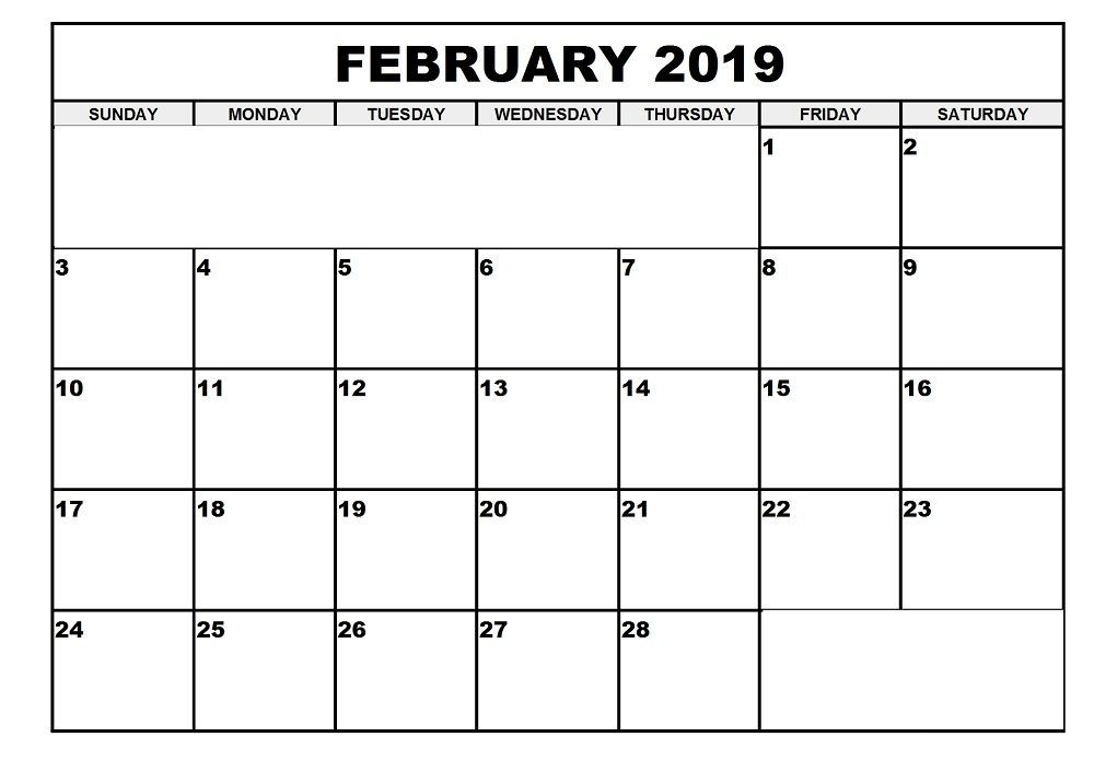 Free Calendar Template February 2019 #FebruaryCalendar