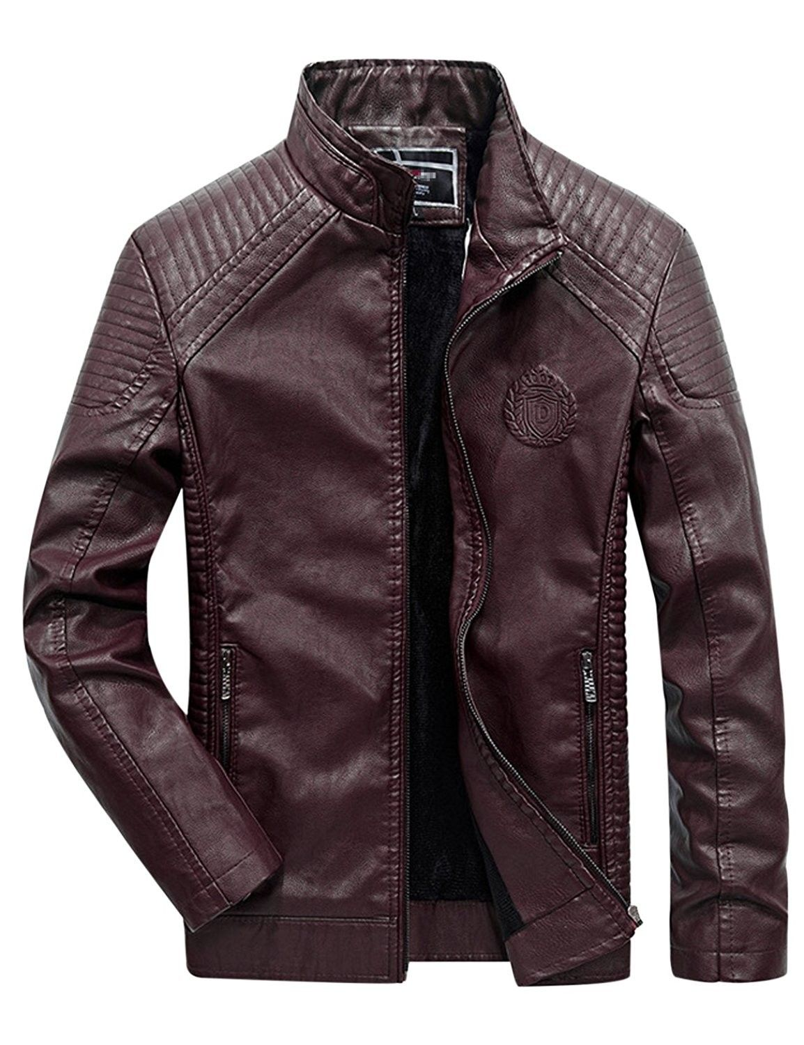 Men's Fur Lined Faux Leather Jacket Outerwear Red