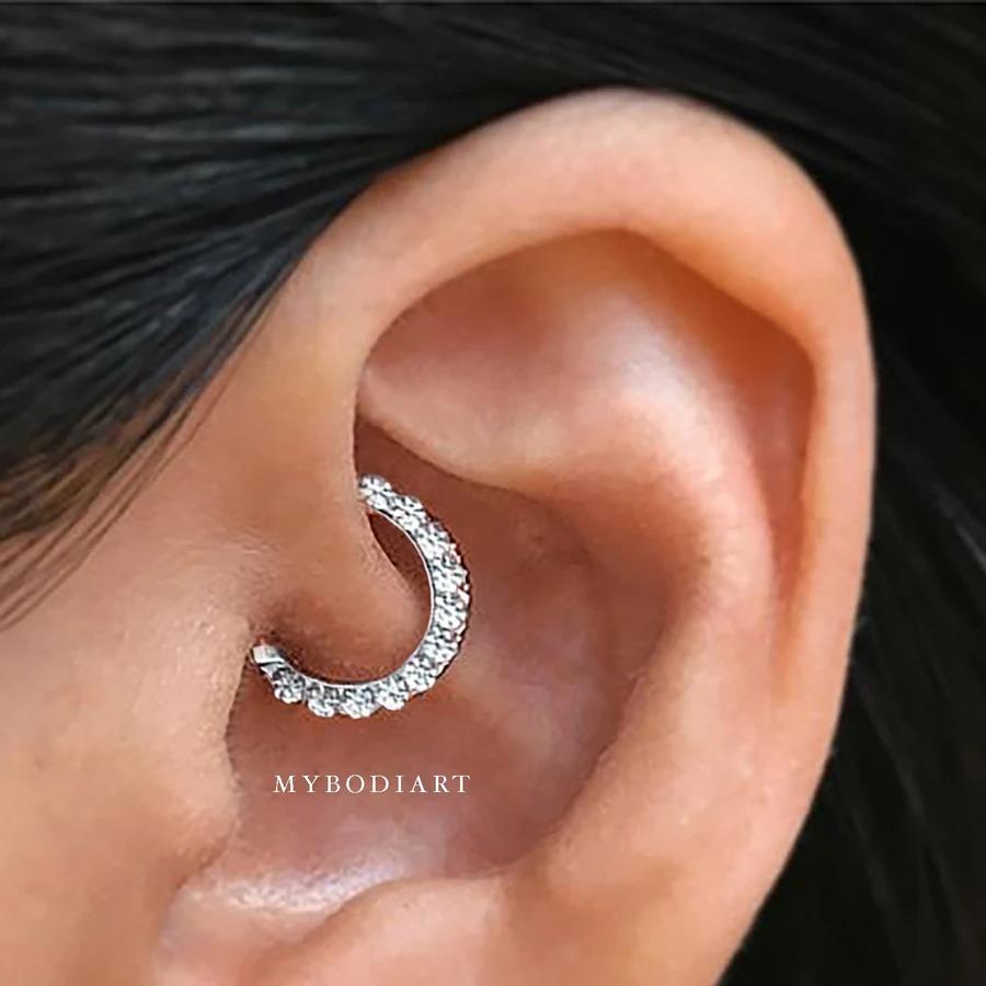 Brice Swarovski Crystal Clicker In Silver Ear Piercings Ear