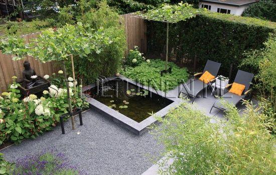 Jardin De Ville Avec Bassin Et Coin Dtente  Terrasse