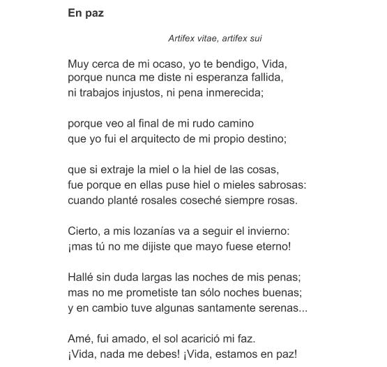 Significado Del Poema En Paz De Amado Nervo Qué Significa