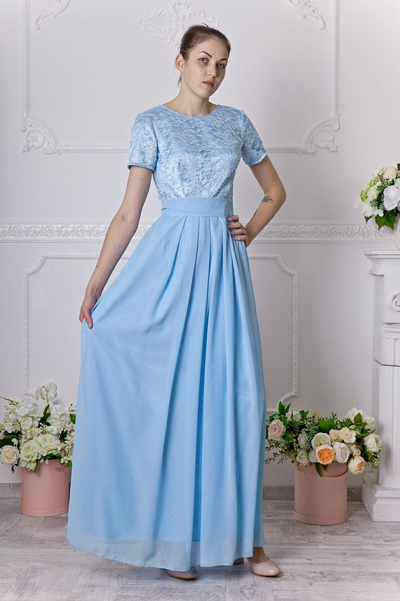 0608e2237e3 Long light blue bridesmaid dress with short sleeves. Modest baby blue lace dress  for photo shoot. Mo