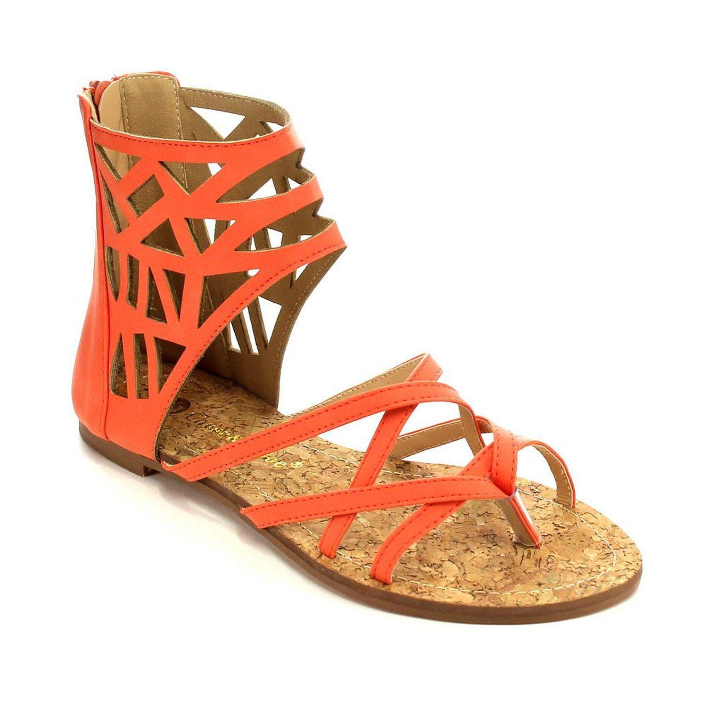 02bcca207fd Amazon.com  Beston CC73 Women s Gladiator Style Cut Out Calf Flat Sandals   Clothing