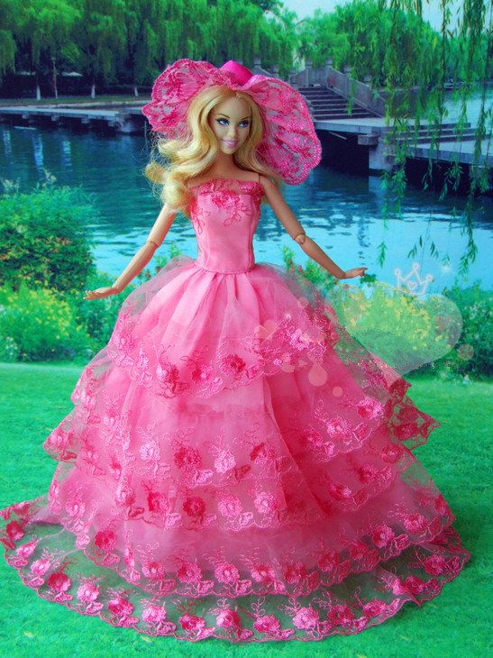 Handmade Barbie dolls clothes pink High-grade dress marriage gauze skirt For Barbie Doll on Etsy, $12.90