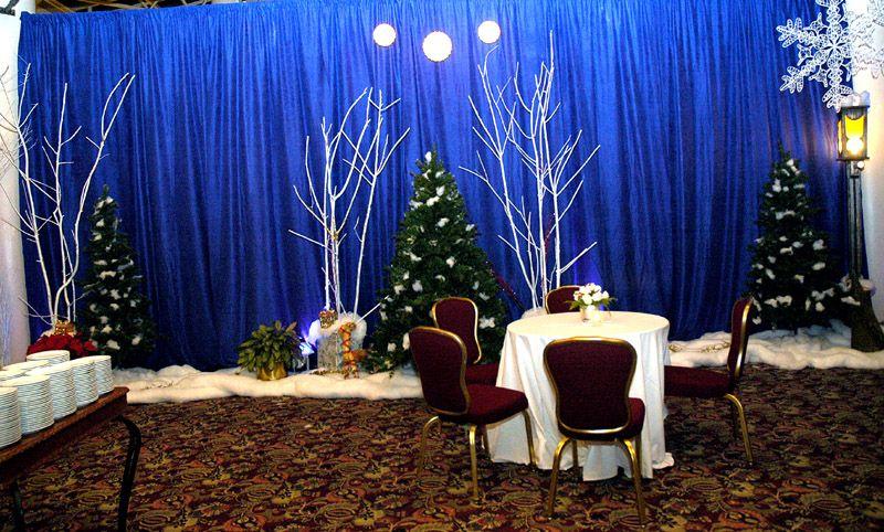 Fellowship hall decor blue around walls white trees blue table