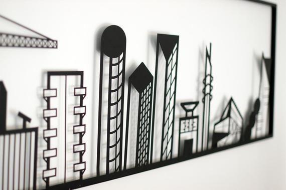 City Skyline Metal Home Decor Urban Art Metal Wall Decor Etsy Minimalist Wall Art Black Metal Wall Art Metal Wall Art