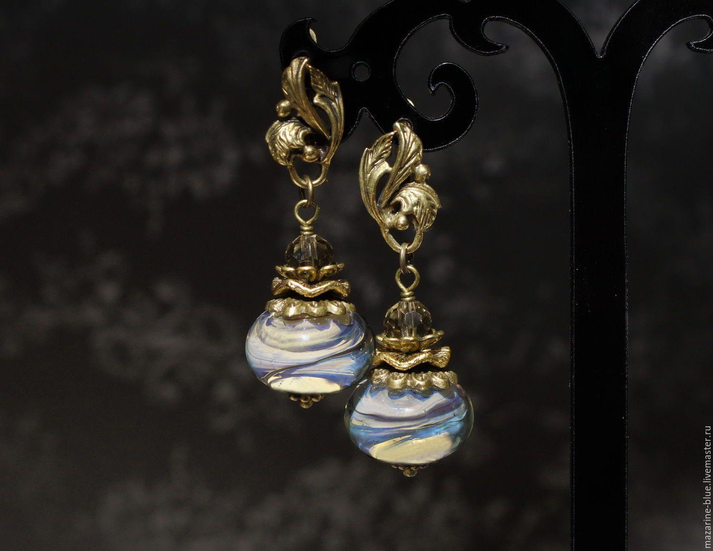 """Купить """"Иллюзия"""" серьги из муранского стекла - комбинированный, чешское стекло, серьги, крупные серьги, украшение"""