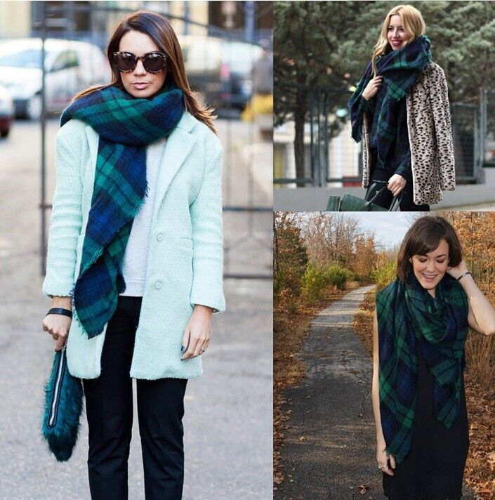 Morpheus Boutique  - Green Blue Raw Edge Trims Plaid Shawl Desinger Long Scarf Wrap