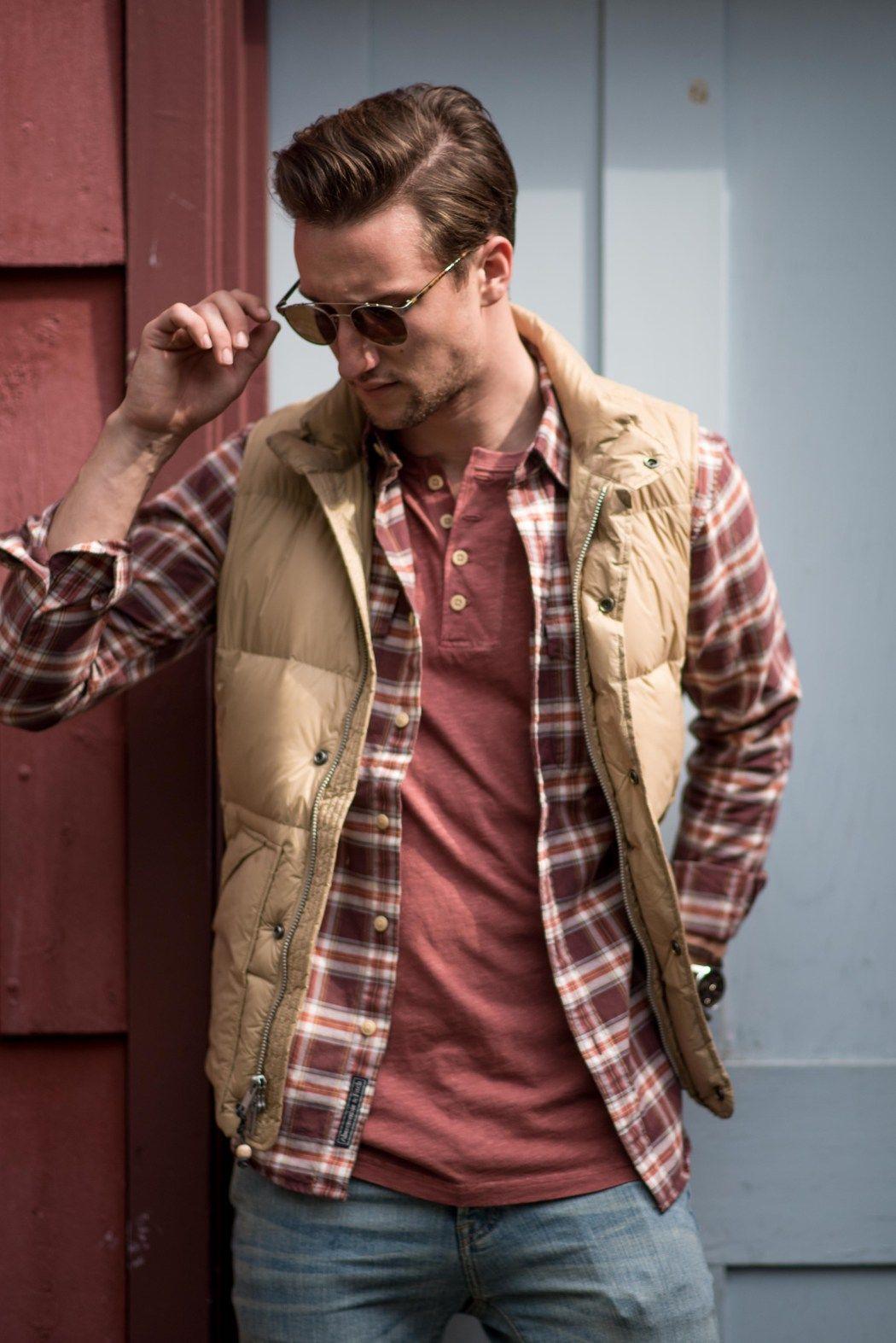 Tan Puffer Vest Plaid Button Down Red Henley Shirt