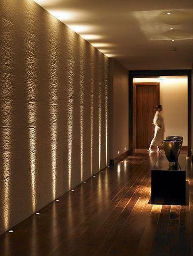 Floor uplights on stair half landing                              … You will find something interesting here is part of Hallway lighting -