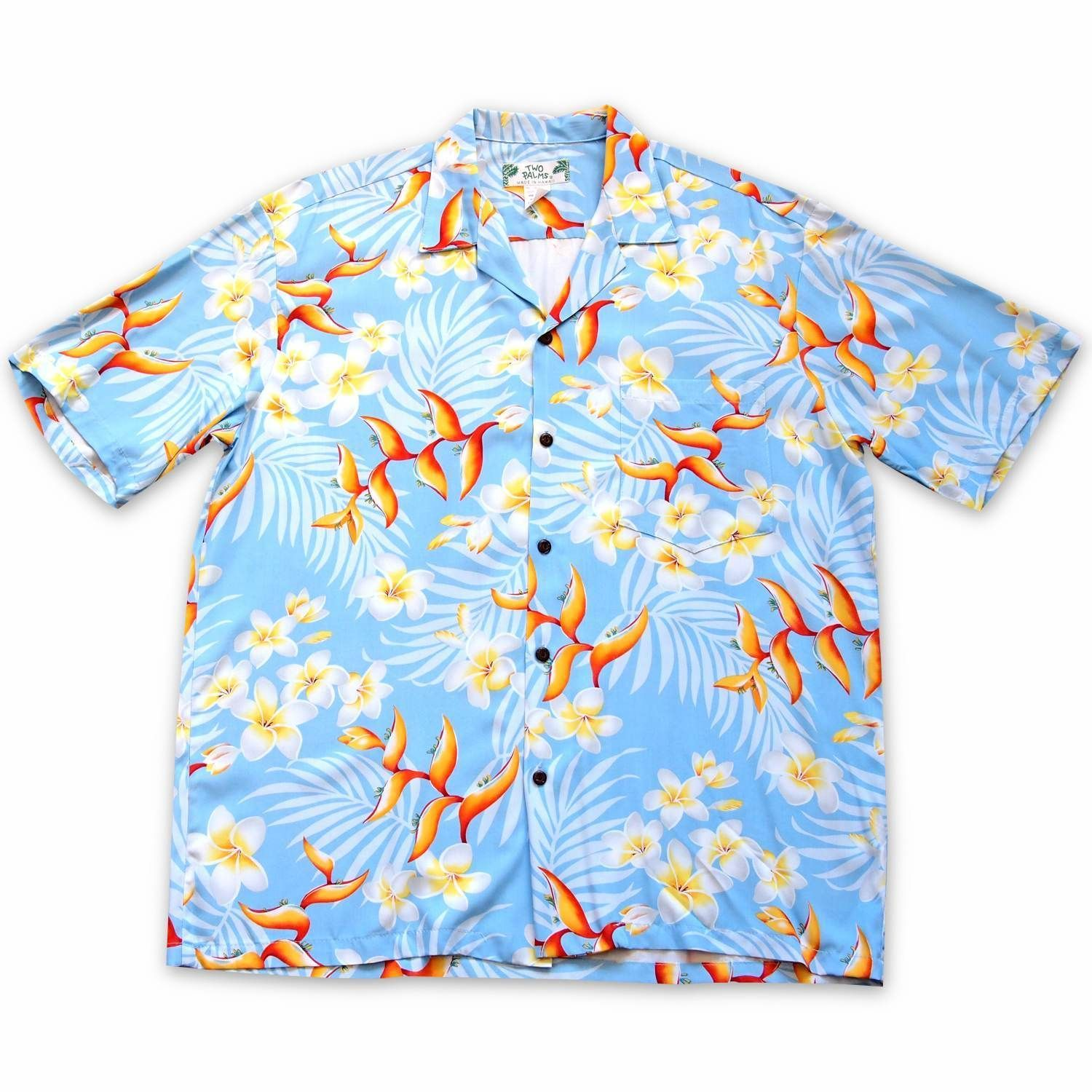 Heliconia Bliss Blue Hawaiian Rayon Shirt