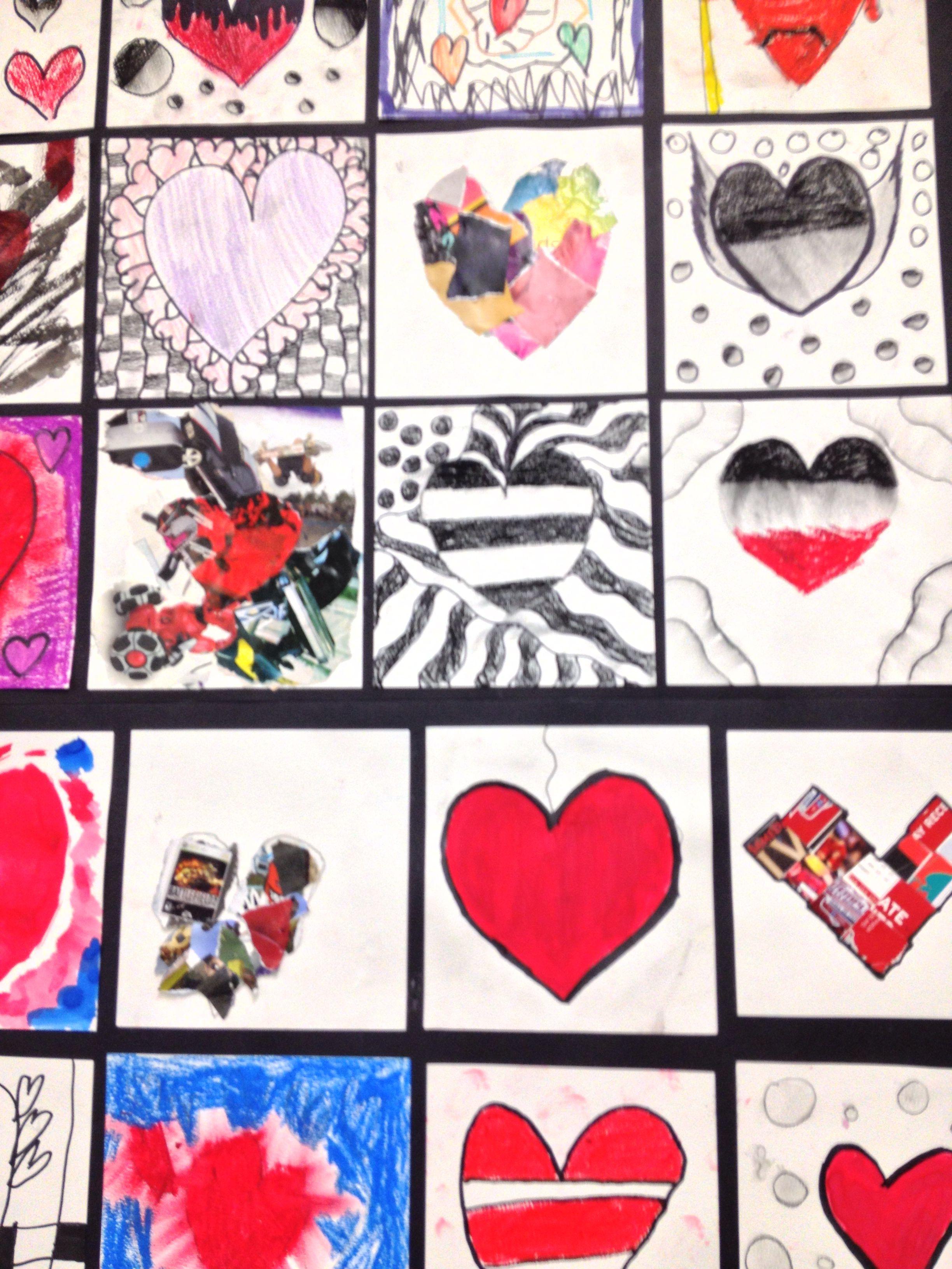 Mosaïque De Cœurs Crayon Bois Feutrepeinture à Leau Collage - Peinture al eau sur bois