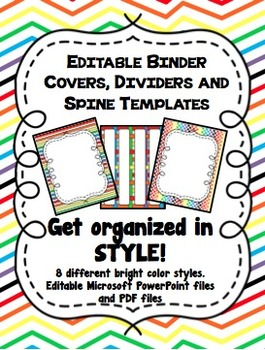 Rainbow Editable Binder Covers, Dividers and Spine Templates | Binder