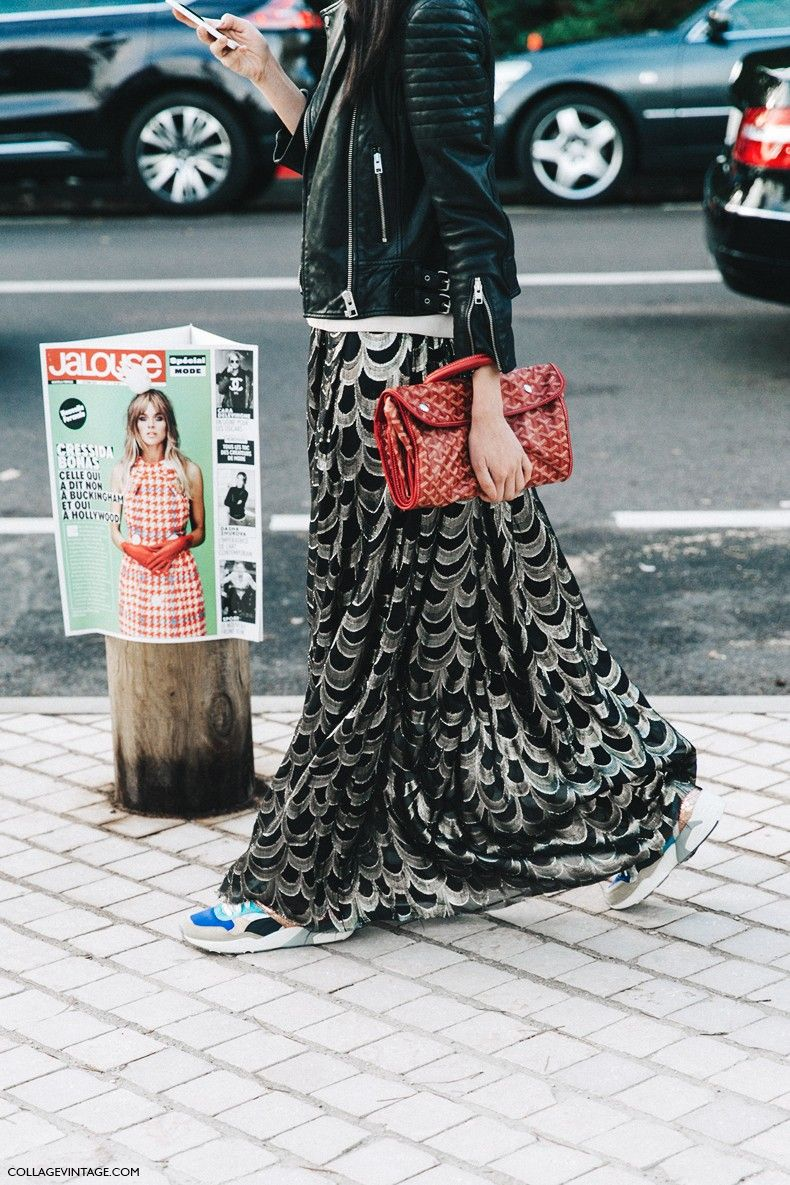 PFW-Paris_Fashion_Week-Spring_Summer_2016-Street_Style-Say_Cheese-Maxi_Skirt-Sneakers-