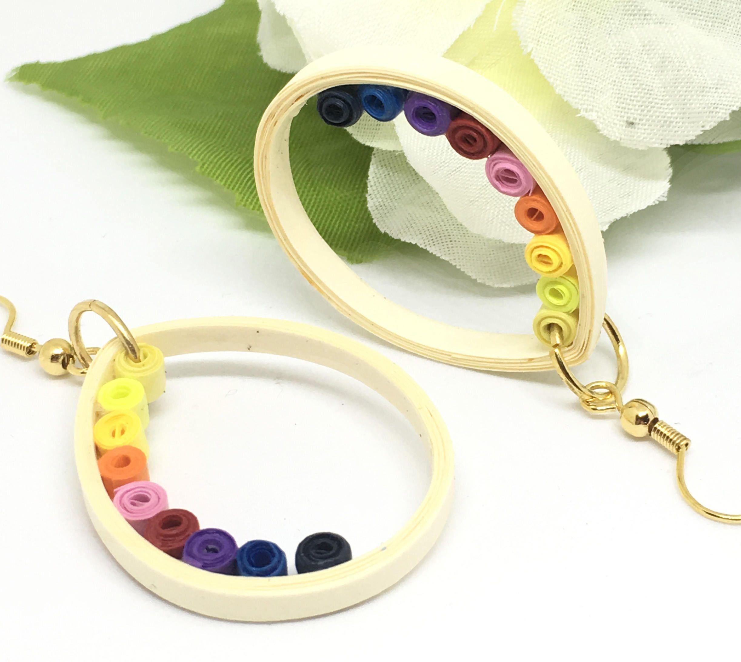 Equality earrings quilled rainbow earrings girlfriend gift