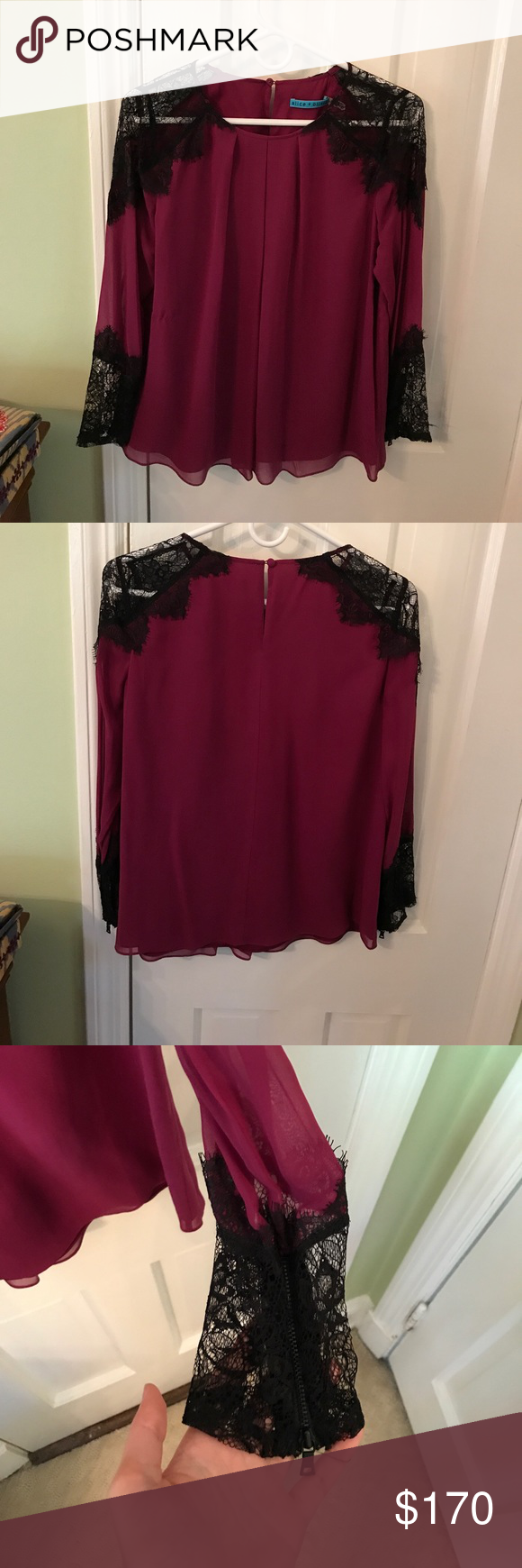 Alice and Olivia Sofia Blouse in wine size small Alice and Olivia Sofia lace trim blouse in size small. Body is lined and sleeves are sheer. Black lace trim at shoulders and sleeves. 100% silk. Color is a wine/deep raspberry Alice + Olivia Tops Blouses