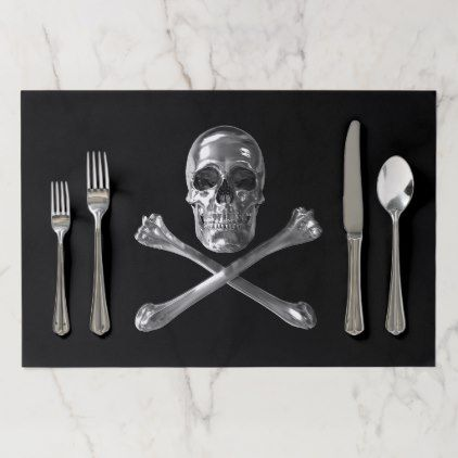 Jolly Roger Skull Large Tearaway Placemat - home decor design art diy cyo custom