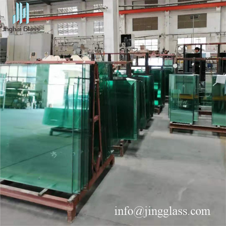 Low E Double Glass Reflecting Green Color For Curtain Wall Laminated Glass Sound Proof Curtains Glass Building