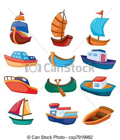 Vector Caricatura Iconos De Barcos En Fondo Blanco Barcos En