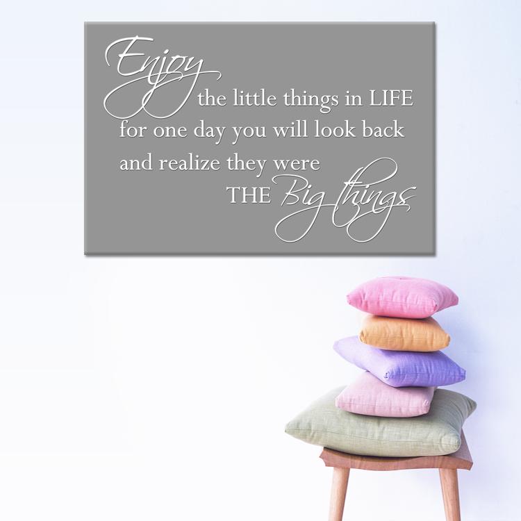 tekst op canvas - enjoy the little things   woonkamer teksten, Deco ideeën