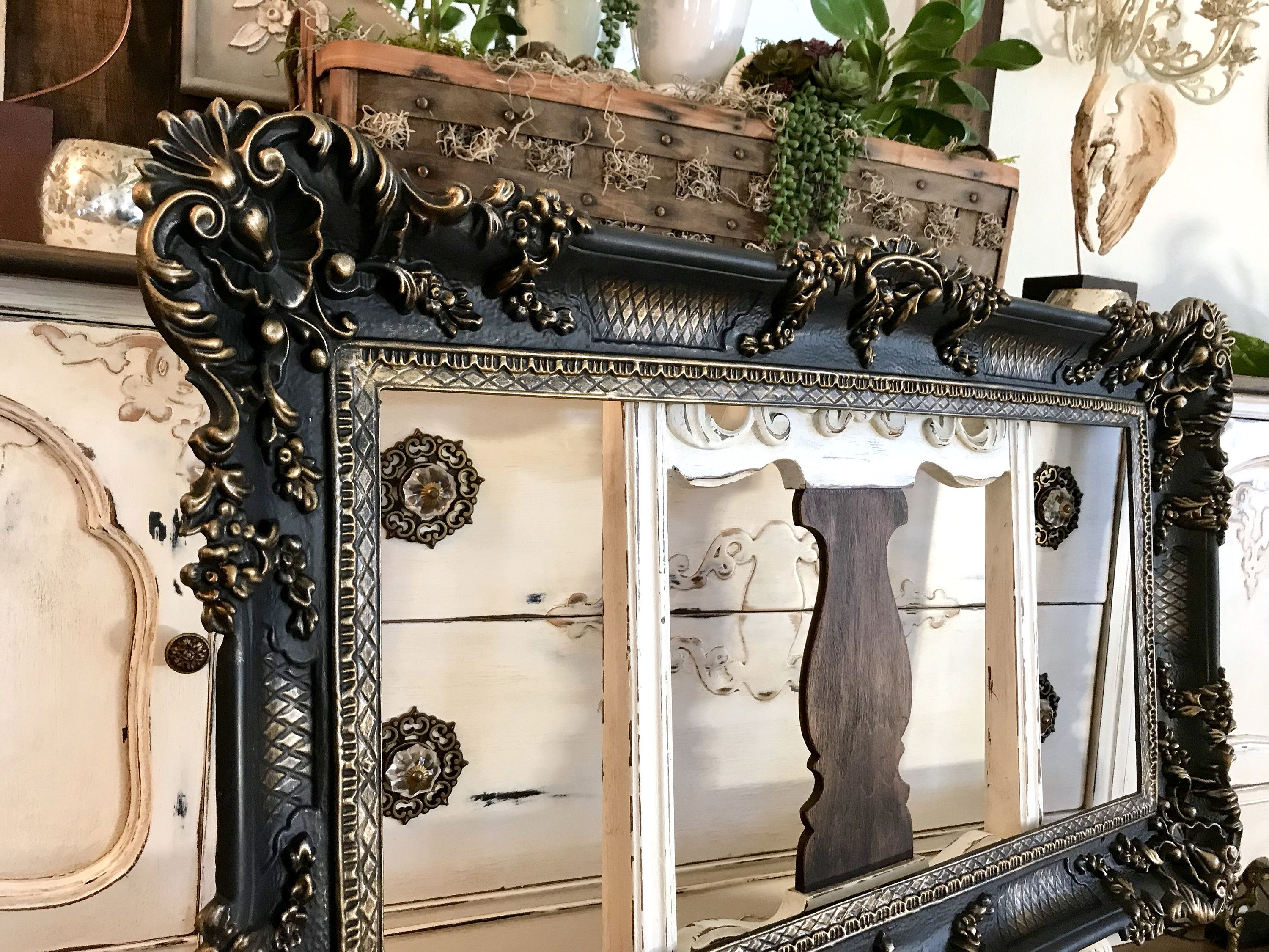 Large Ornate Black Wall Frame With Gold Highlighting Huge Vintage Flat Black And Gold Frame Huge 37 X 21 5 Black And Gold Frame Gold Ornate Mirror Gold Framed