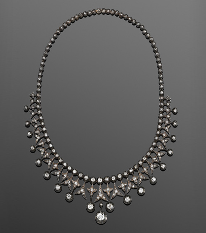 19th Century Convertible Diamond Fringe Necklace.  195 old and rose cut diamonds.  Original leather box, with tiara fitting.
