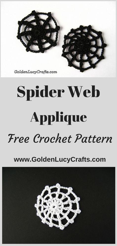 Spider Web Applique Crochet Pattern | crochet skulls | Pinterest ...