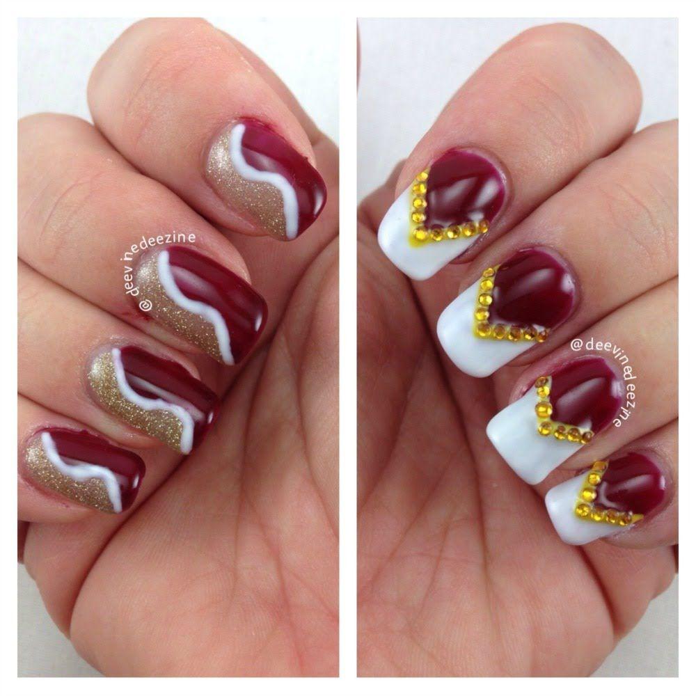 Florida State Seminole Nail Art Garnett And Gold Nail Design Football Nail Art Sports Nail Art Nails