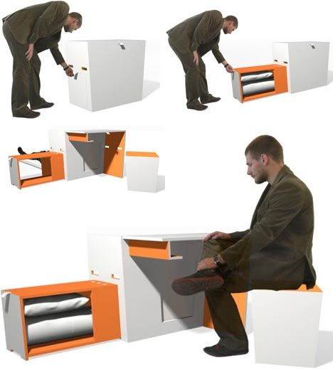 Talk About Space Saving Design Here We Have A Bed Table Desk And Chair Even Some Cabinet