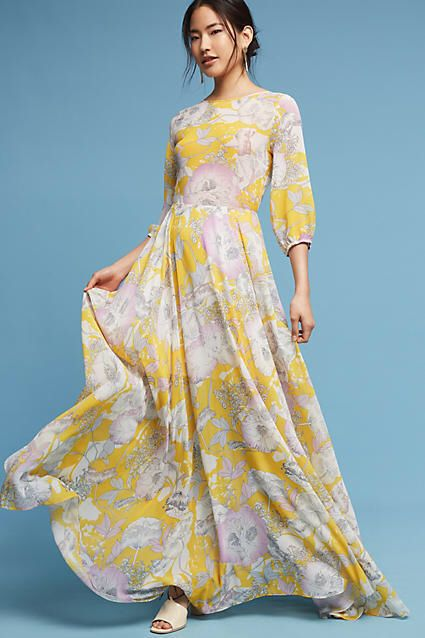 8d3477f5d6414 Yumi Kim Charvi Floral Maxi Dress - yellow floral maxi perfect for spring  and summer. From Anthropologie.