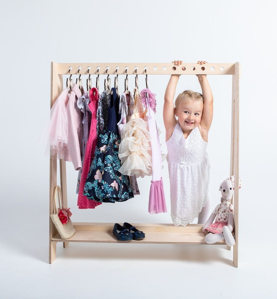 Kids Dress Up Clothes Hanger Timber Clothing Rack Kids Clothes