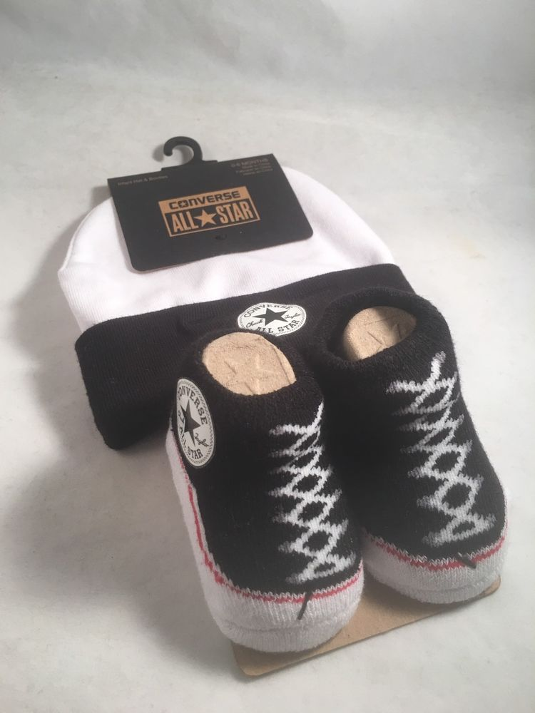 b81d1a99 Converse Chuck Taylor 0-6 Months Baby Booties & Hat Black White Gift Boys  Girls #Converse #Booties