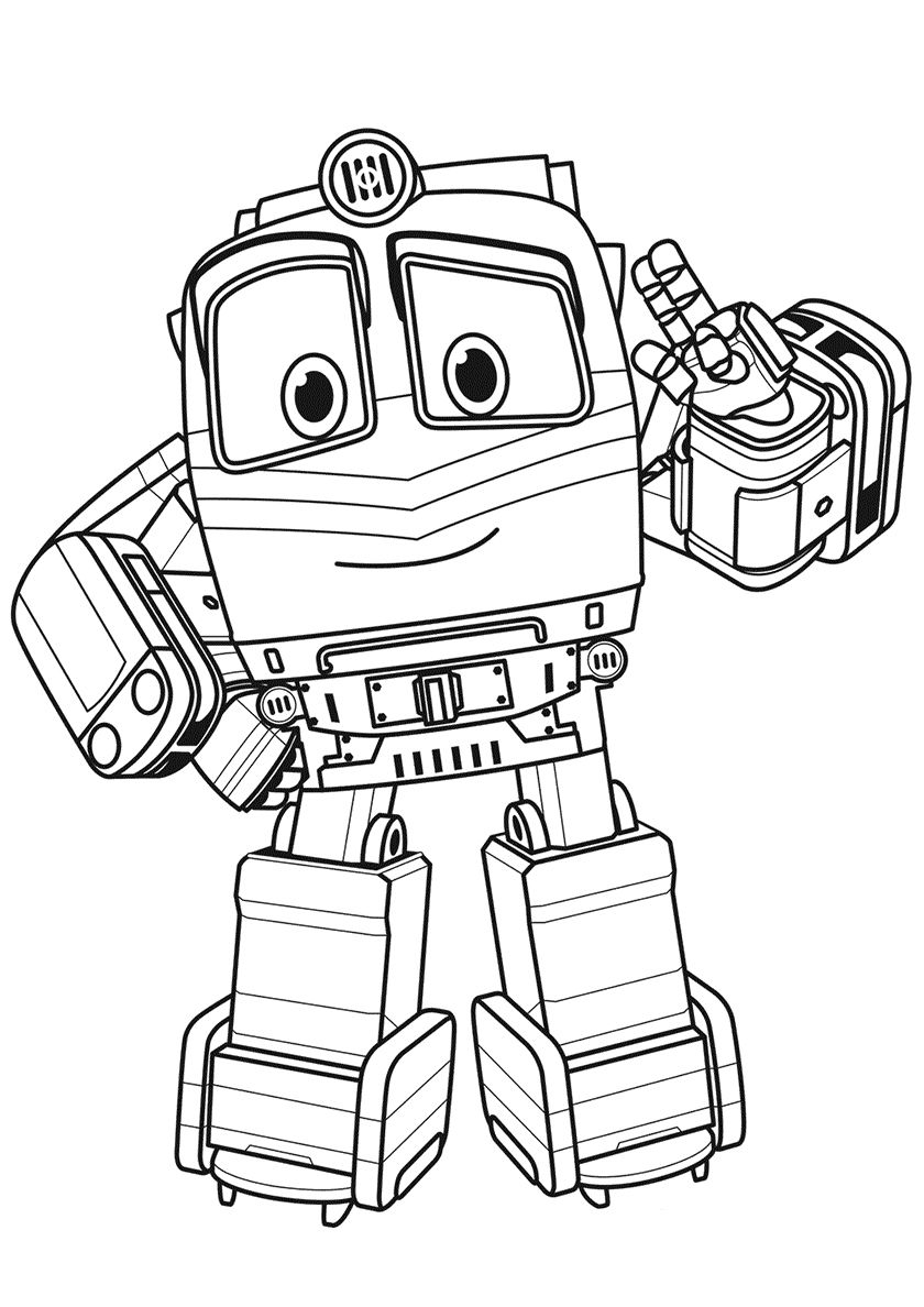 Robot Train Alf Cartoon coloring pages, Train coloring