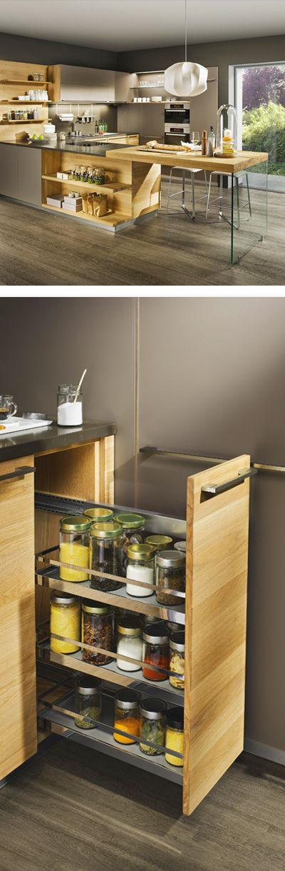 Moderne Holz Küche mit Apotheker-Auszug für Gewürze Holzküchen - k che mit holz
