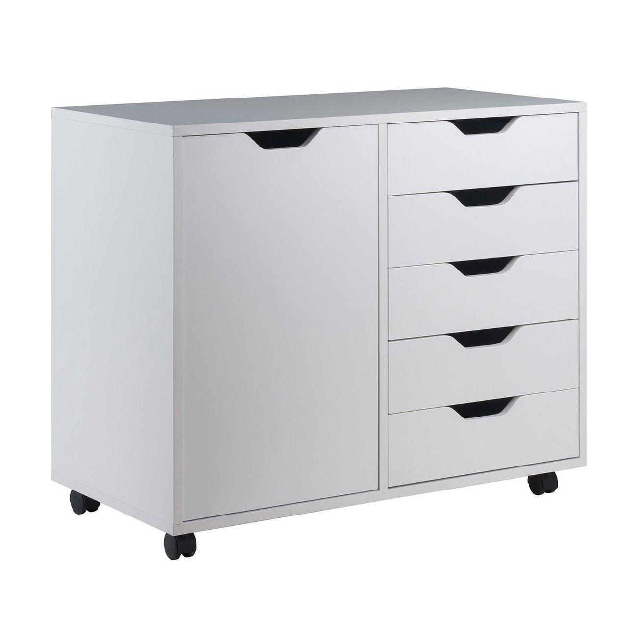 Winsome 30 71 W Halifax Wide Cabinet With 5 Gliding Drawers White Under Desk Storage Plastic Storage Units Storage