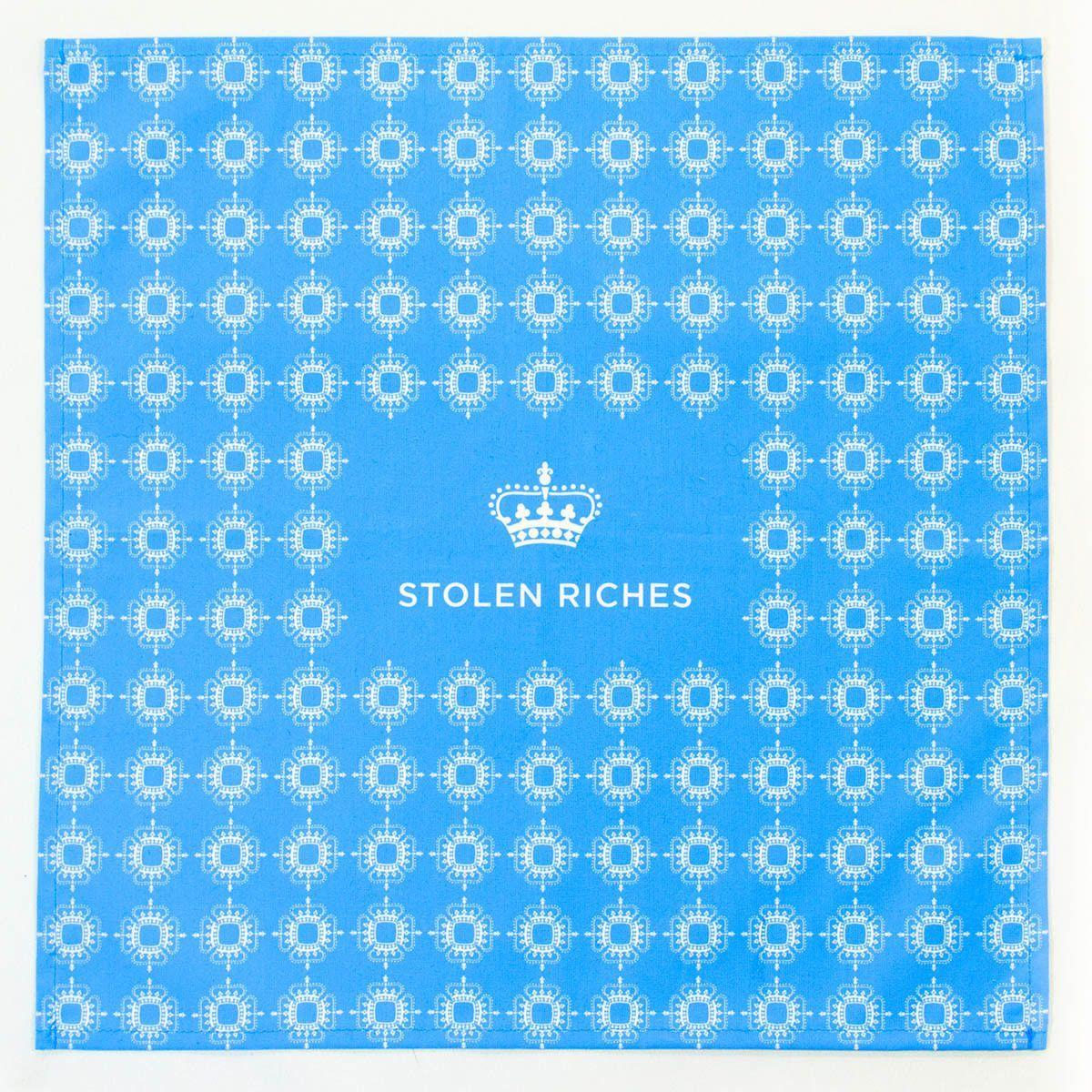 "Dickie Blue - Crown Pattern Pocket Square (13""x13"")"