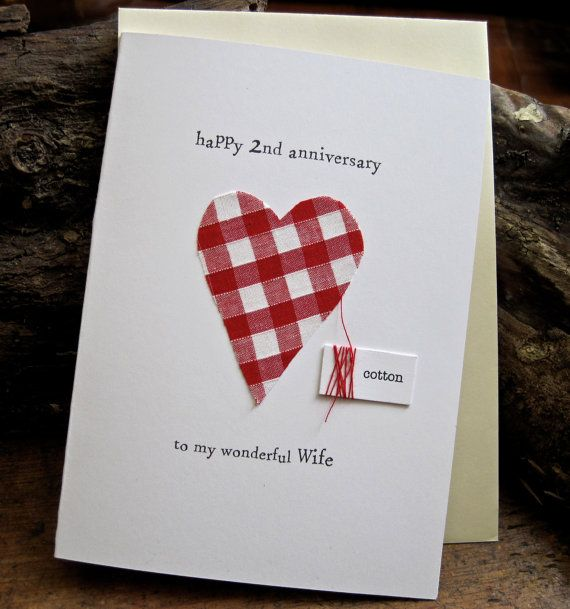 2nd Wedding Anniversary Keepsake Card Cotton Handmade Traditional